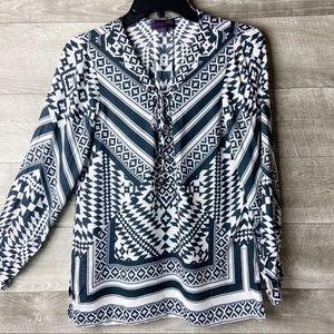 Hale Bob print grommet lace up long sleeve blouse